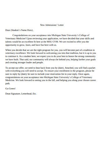 New Admissions' Congratulations Letter