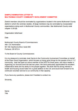 Nomination Letter for Community Involment Committee