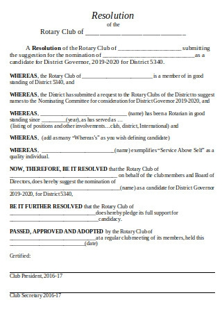 Nominee Resolution Letter