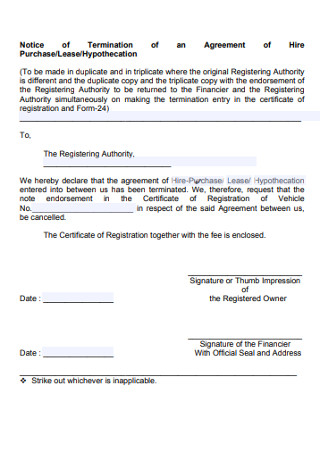 Notice of Termination Agreement