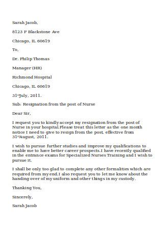 Nurse Resignation RN Letter