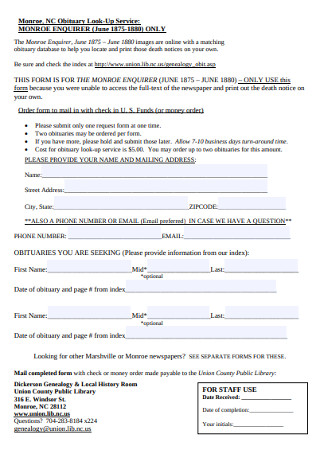 Obituary Look Up Service Example