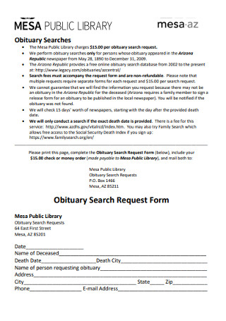 Obituary Search Request Form