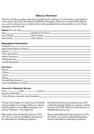 Obituary Worksheet