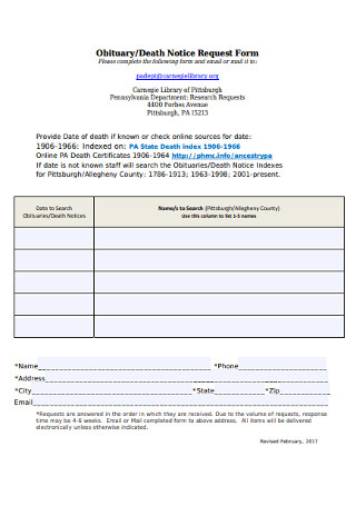 Obituary and Death Notice Request Form