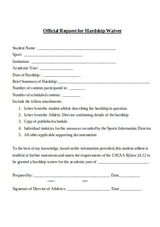 Official Request for Hardship Waiver