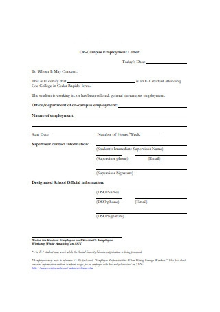 On Campus Employment Letter