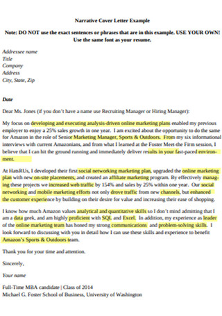 Online Marketing Manager Cover Letter Sample