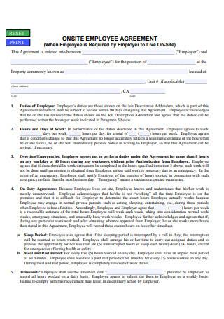 Onsite Employee Agreement