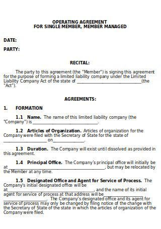 Operating Agreement Single Member
