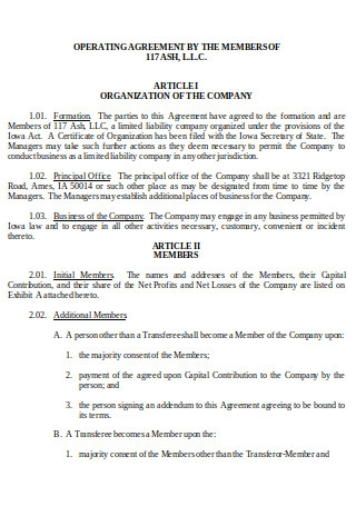 Operating Agreement by Members