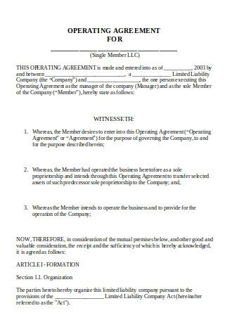 Operating Agreement for LLC