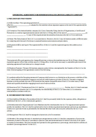 Operating Agreement for Member Managed LLC