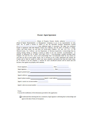 Owner Agent Agreement