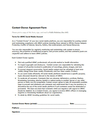 Owner Agreement Form