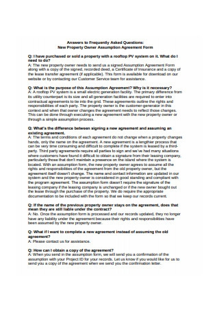 Owner Assumption Agreement Form