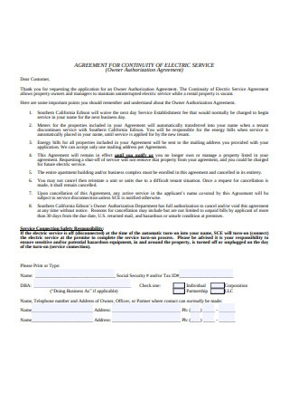 Owner Authorization Agreement