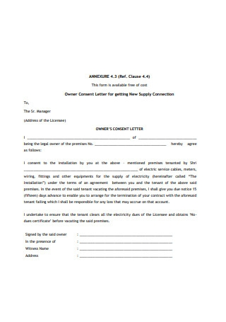 Owner Consent Letter