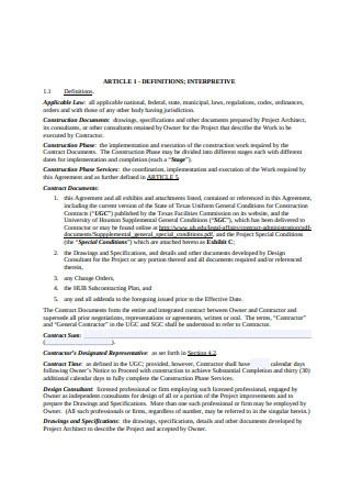 Owner Contractor Agreement