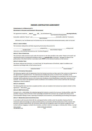 Owner Contractor Agreement1