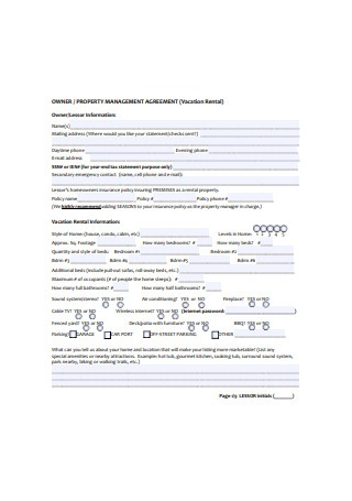Owner Management Agreement