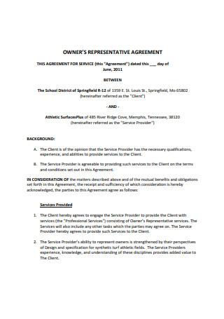 Owner Representative Agreement Example