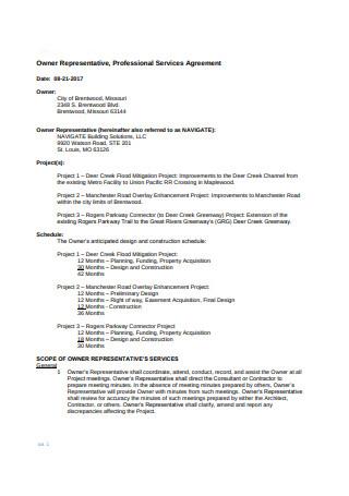 Owner Representative Agreement Format