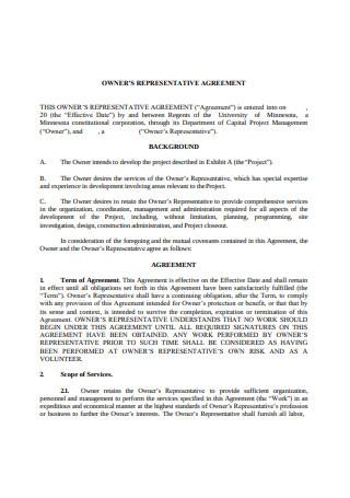 Owner Representative Agreement