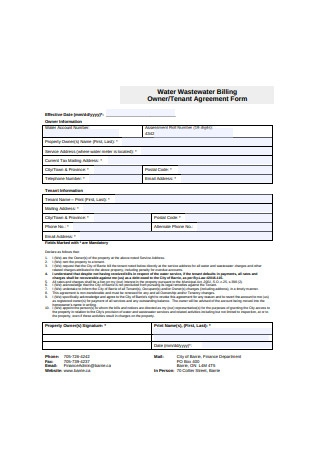 Owner Tenant Agreement Form