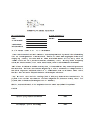 Owner Utility Service Agreement