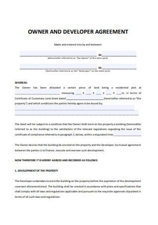 Owner and Developer Agreement