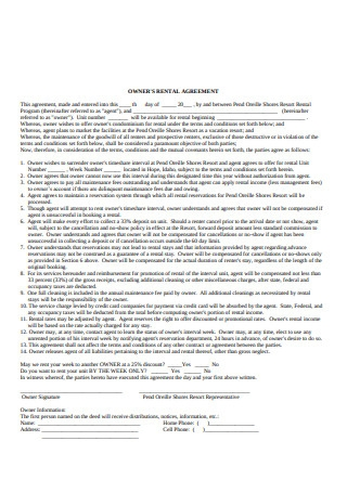 Owners Rental Agreement