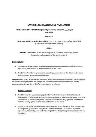 Owners Representation Agreement