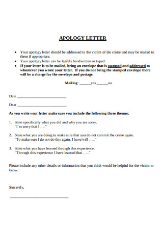 Parent Apology Letter