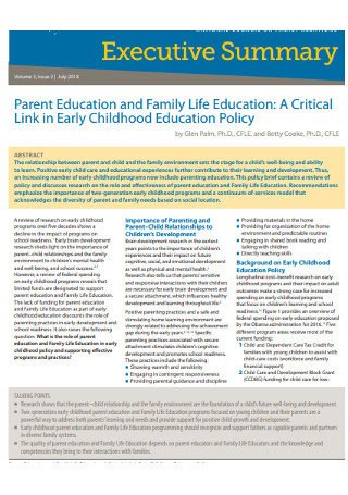 Parent Education Executive Summary