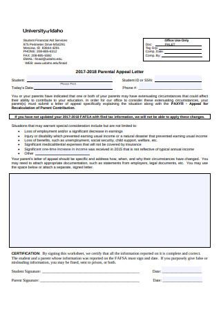 Parental Appeal Letter