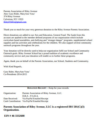 Parents Association Donation Letter