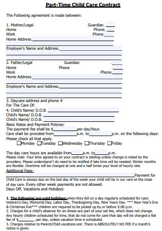 Part Time Child Care Contract in PDF