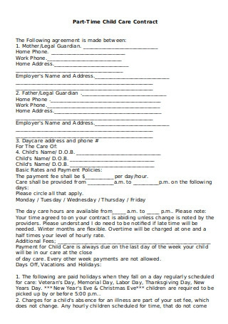 Part Time Child Care Contract