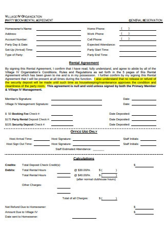 Party Room Rental Agreement