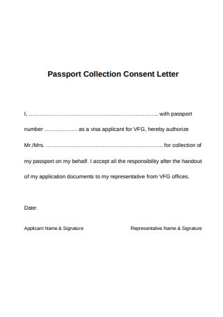 Passport Collection Consent Letter
