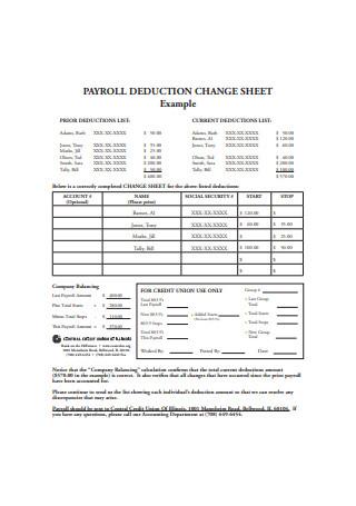 Payroll Deduction Change Sheet