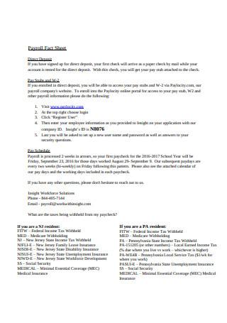 Payroll Fact Sheet