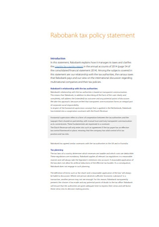 Payroll Policy Statement Format