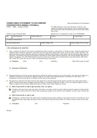 Payroll Statement of Compliance Example