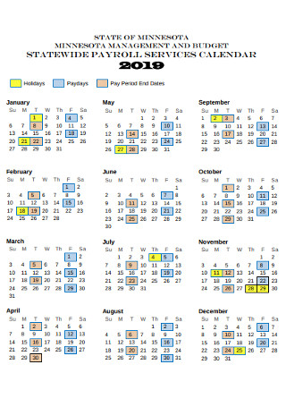 Payroll Yearly Service Calendar