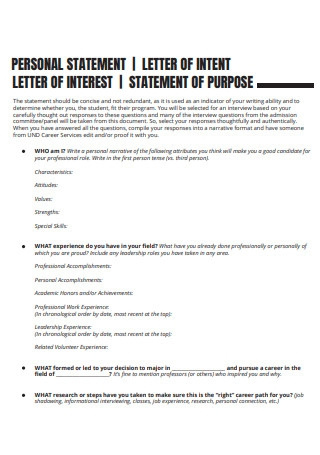 Personal Statement Letter of Intent
