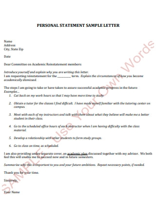 Personal Statement Letter