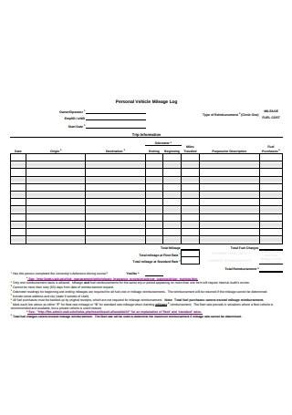 Personal Vehicle Mileage Log Format