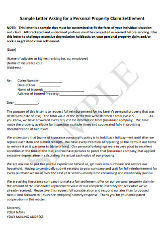 PersonalProperty Claim Settlement Letter
